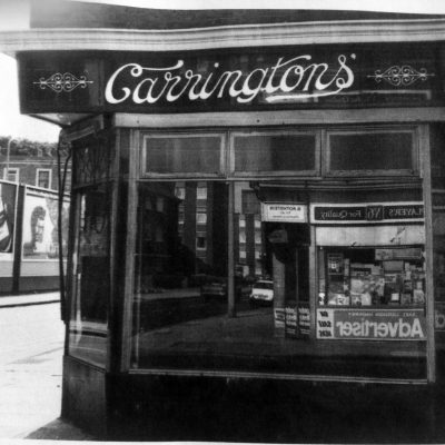 Carrington's corner shop, from the Living in Bow image archive project on Facebook