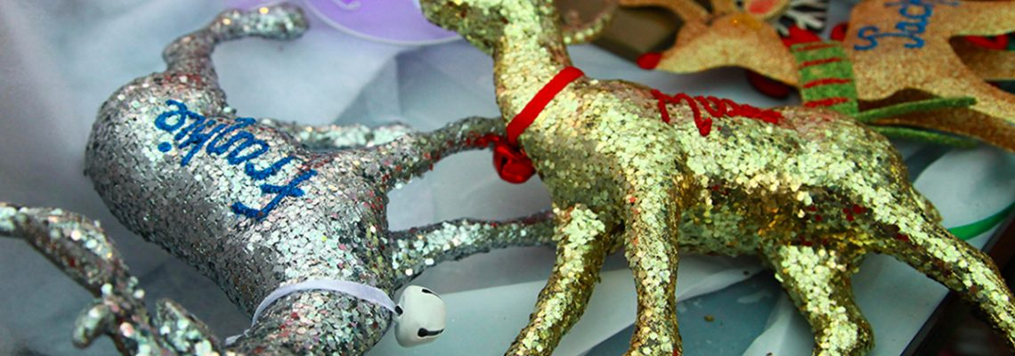 Sparkly christmas tree reindeer decoration