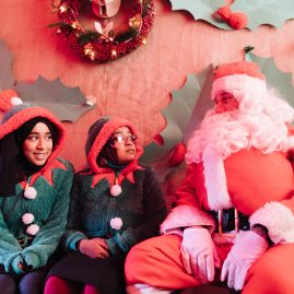 Santa's Grotto and his elves at Roman Road Christmas Fair 2016