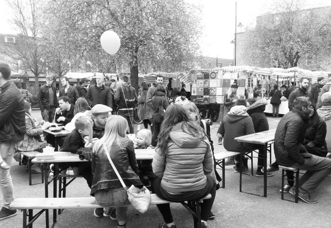 The launch party for Roman Road Yard Market at the Roman Road car park