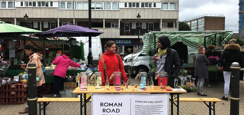 Roman Road Trust identity workshop stall at Globe Town market