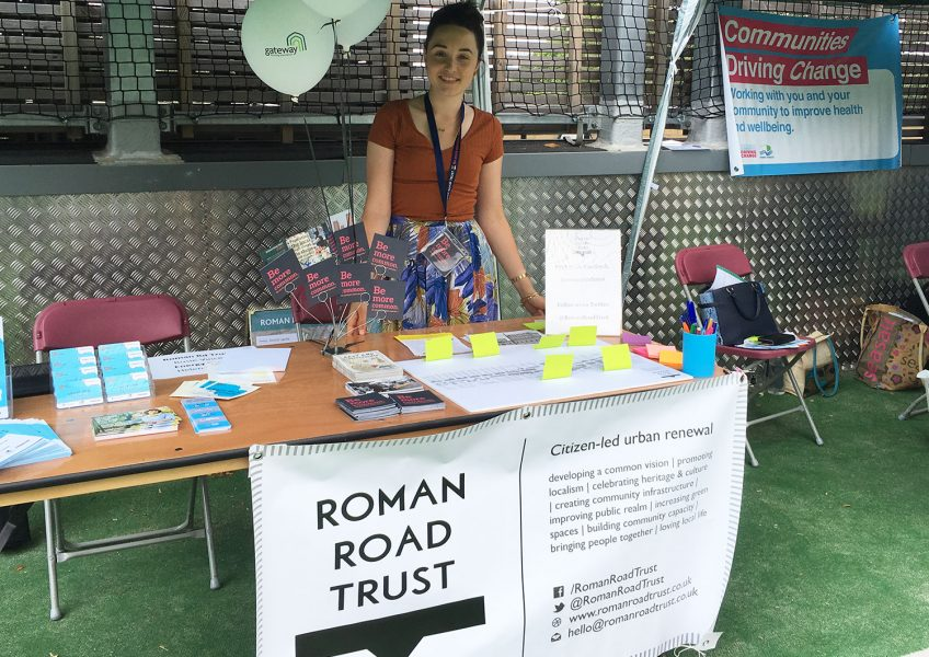 Rosie at the Roman Road Trust stall