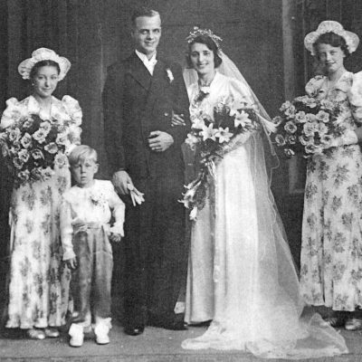 Albert Arber's wedding photo with a young Gary Arber (of Arbers suffragettes printers on Roman Road)  bottom right, from the Living in Bow image archive project on Facebook