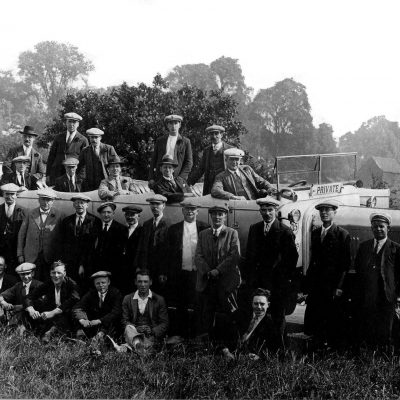 Men from Mile End on charbanc outing, from the Living in Bow image archive project on Facebook