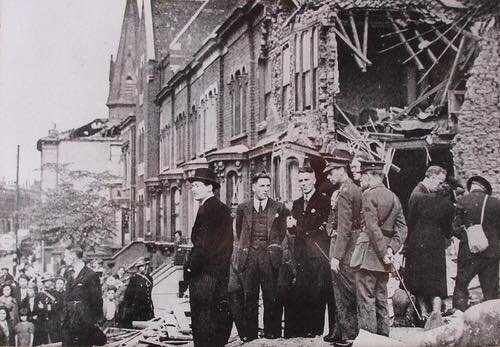 The King, Mr Clement Attlee and the Mayor of Poplar inspecting St Barnabas Church following bombing in 1942, from the Living in Bow image archive project on Facebook