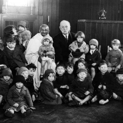 Ghandi visiting Kingsley Hall in Bow, from the Living in Bow image archive project on Facebook