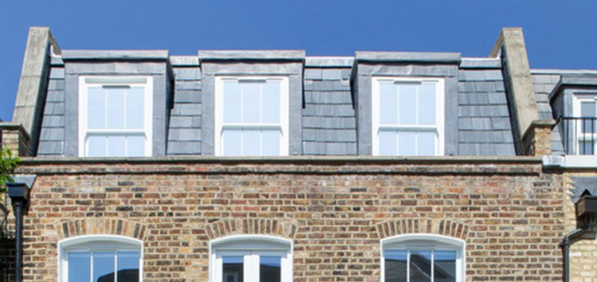 London townhouse with mansard roof