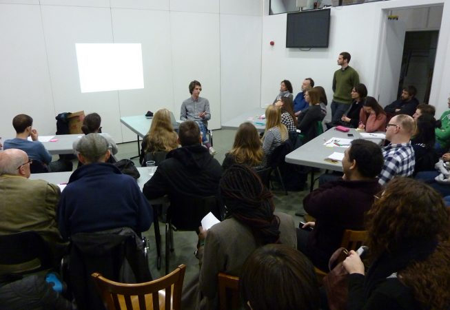 Andy Belfield presenting at Inaugural public meeting of Roman Road Neighbourhood Forum and Plan, East London