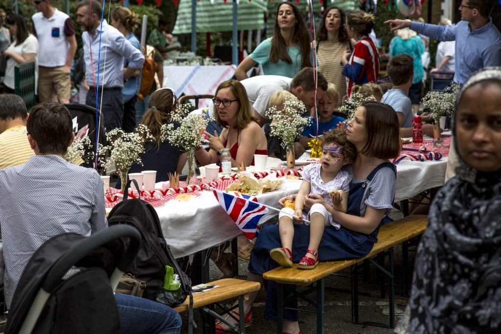 Queens Birthday Tea party on Roman Road in Bow, East London