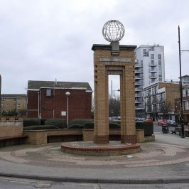 Globe Town sculpture on Roman Road, East London