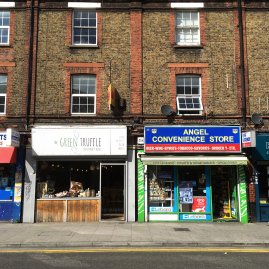 Shop fronts in Globe Town East London